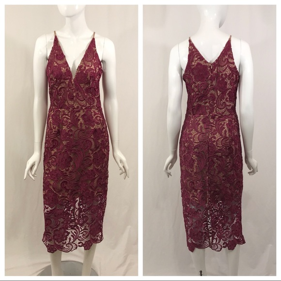Dress the Population Dresses & Skirts - Dress the Population Mulberry Pink Lace Dress M
